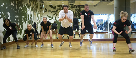Adults taking part in an active class