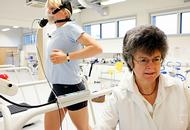 Two women in the sport science lab